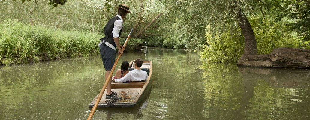Romantic punting on the river