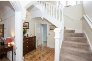 Staircase bottom – Ultra dog friendly luxury B&B in Devon