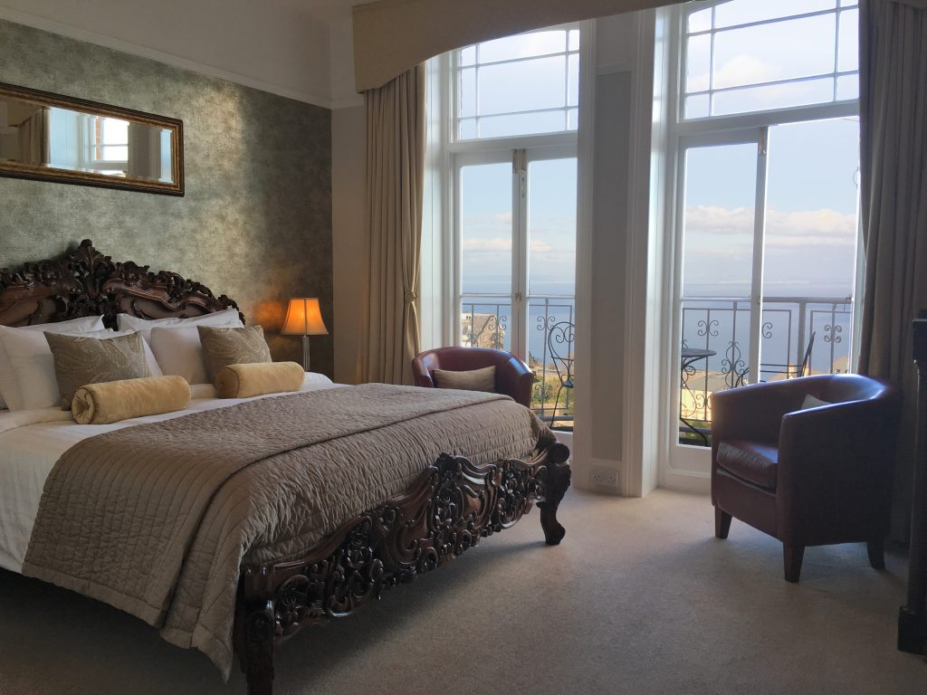 Luxury bedroom with view at Highcliffe House
