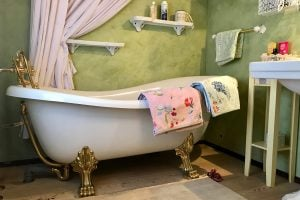 Soak away the day in the retro bath tub
