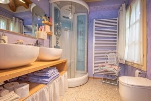 A his and hers bathroom offers sanctuary